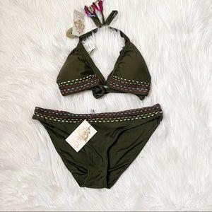 BECCA olive stitching bikini set Top D bottom XL